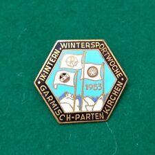 1953 Garmisch Wintersportwoche enamel ski pin badge