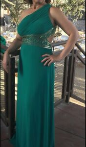 Green Sequin One Shoulder Gown (Betsy and Adam, Size 6)