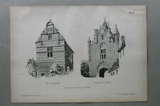 AR91) Architektur Leau Harlem 1891 Haus Amsterdamer Thor Gebäude Holzstich 28x39
