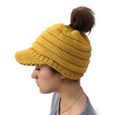Women Stretch Knit Hat Messy Bun Ponytail Beanie Winter Outdoor Warm Hole Hat