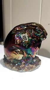 HTF Large FENTON RABBIT Hand Blown AMETHYST CARNIVAL GLASS WITH TAG