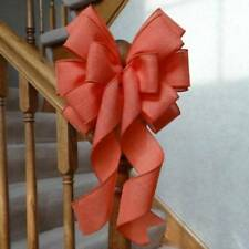 "!0"" WIDE DARK CORAL BURLAP TYPE BOW WITH WIRED EDGE FOR CRAFTS GIFTS PARTY DECOR"