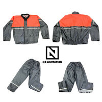 First Gear by Hein Gericke Reflective Motorcycle Rain Jacket & Pants Mens XL Set