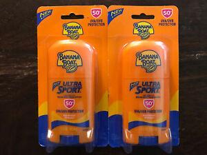 Lot of 2 Banana Boat SPF50+ Ultra Sport Stick 1.5oz Sunscreen Exp 1/22