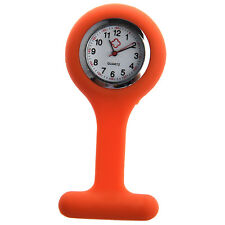 New Nurses Brooch Silicone Rubber Tunic Fob Pendant Pocket Watch Orange G9T5