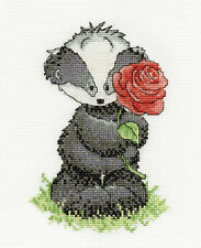 DMC Woodland Folk Bert Badger with a Rose Counted Cross Stitch Kit BK1196
