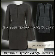 KATE MOSS Topshop Charcoal Grey Wool Knit Keyhole Belted Peasant Dress UK 8 10