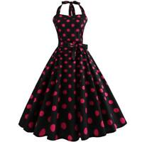 Halter Dress floral Retro Sleeveless women Party Dresses Evening Swing Party
