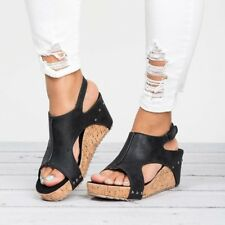 Womens Ladies Flatform Peep Toe Espadrille Wedge Sandals Ankle Slingback Shoes