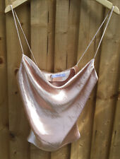 BRAND NEW MANGO SILKY STRAPPY NUDE PEACH COWL Y2K 90S STYLE CAMI S RRP £22.99