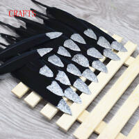 """FEATHERS X 5 BLACK / SILVER  GLITTER TIP  Hand Painted approx 4""""-6"""""""