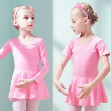 UK Girls Ballet Dance Leotard Dress Kids Gymnastics Tutu Skirt Dancewear Costume