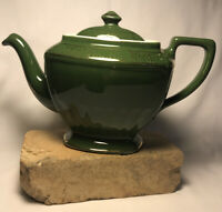 Vintage Hall MCM Dark Green and Gold Teapot With Lid Hollywood Regency Style