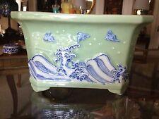 Fine Antique CHINESE PORCELAIN  JARDINIERE Ocean seascape Bowl Vase Decor Art