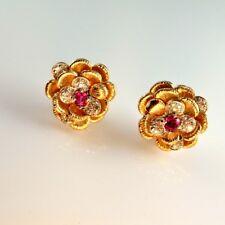 EMERALD CUT UNHEATED NO HEAT Red RUBY Diamond 14K Gold Flower Earrings 1950s