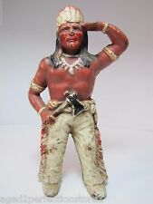 Old Cast Iron Indian Chief Figural Bank wonderful old original paint detailed