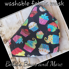Cupcakes washable Fabric Mask with pocket.Adult standard