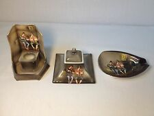 Rare Royal Bayreuth 3 Pc. Desk Set Candlestick/Inkwell/Ashtray Peasant Musicians