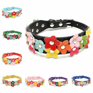 Flower Collar Cute Leather Dogs Necklaces Pet Collars For Small Medium Dogs XS-M