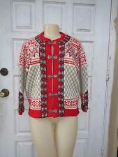 DALE OF NORWAY MULTI COLOR WOOL KNIT HOOK FRONT CARDIGAN SWEATER Sz 40 / 8