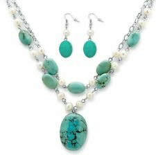 Silver Tone Earrings and Necklace Cultured Freshwater Pearl Genuine Turquoise 3""