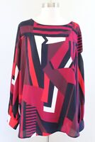 NWT Ann Taylor Loft Abstract Print Split Open Sleeve Top Blouse Size L Maroon