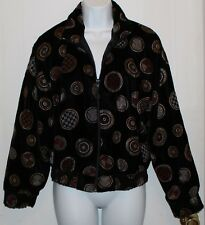PETITE SOPHISTICATE Vintage Bomber Black w/Gold-Red Circles Zipper Jacket Size S