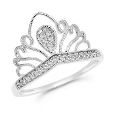 14K White Gold Pave Round Diamond Cocktail Crown Queen Right Hand Ring