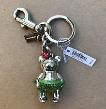 Coach Hawaii Teddy Bear Key Chain Ring Fob Purse Charm NEW 27698 Silver