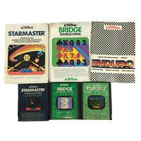 Atari Retro Game Bundle Lot: Starmaster, Enduro, Bridge With Manuals