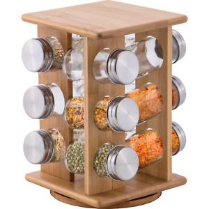 Portaspezie in legno con base girevole porta spezie con 12 barattoli pratico