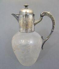 Jugendstil Karaffe, Eisglas mit heraus geätzten Blütenzweigen, um 1900, H=23 cm