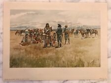 Vintage Charles M Russell Print- Indians & Scouts Talking Penn Prints 1958