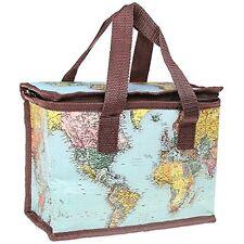 World Traveller insulated Map Lunch Bag School Picnic Zipped LP