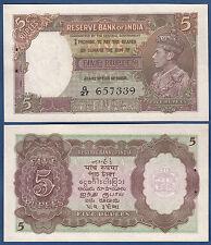 INDIEN / INDIA  5 Rupees (1937)  w/h  UNC  P.18 a