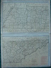 1922 LARGE AMERICA MAP TENNESSEE SHOWING RAILROADS PRINCIPAL CITIES RAND MCNALLY