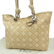 Auth Christian Dior Cannage Pattern Canvas Leather Shoulder Hand Tote Bag 2221