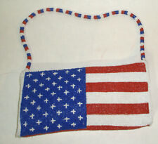 NWOT - RED-WHITE-BLUE AMERICAN FLAG BEADED ZIP PURSE / CLUTCH WITH STRAP NEW