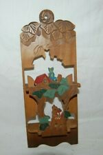 Vintage Rare Bird & Animal Farm Hand Carved Wood Letter Holder Folding Bambi