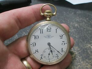 BALL 19J LARGE SIZE MENS GOLD FILLED CASE RUNNING Pocket Watch
