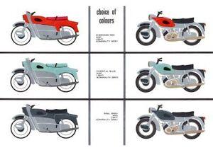 1961 Ariel Leader & Arrow 250cc colour chart poster
