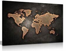 World Map Dark Background Canvas Wall Art Picture Print