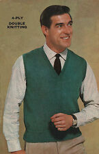 Vintage Knitting Pattern Mens Sleeveless Pullover/Tank Top. 36 to 46 Inch Chest.