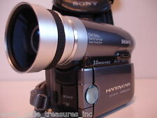 Sony DCR-HC90 MiniDv Camcorder NightShot Wide Lens Attachment AV AC Cable Bag