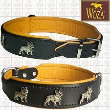 Premium French Bulldog Collar WOZA full Leather Padded Soft Cow's Napa Han AC315