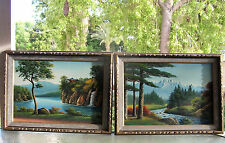 PAIR OIL PAINTING LANDSCAPE TREES MOUNTAINS PAIR WATER