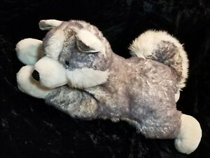 "Aurora Flopsies Super Mush Gray Husky Dog Plush 28"" Stuffed Animal Blue Eyes"