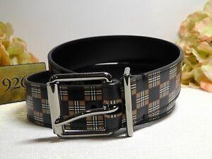 BURBERRY Beige Mack Check Leather Belt Size 85 EU/34 US*****$420*****NWT*****