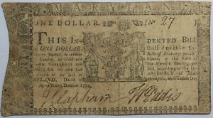 Maryland Colonial Currency Note April 10th 1774 $1 Dollar Md-66