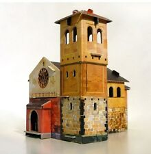 Cardboard model kit. The medieval town. Chapel. Wargame landscape.